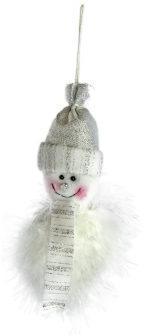 Подвеска Снеговик 11 см, бел.+серебро