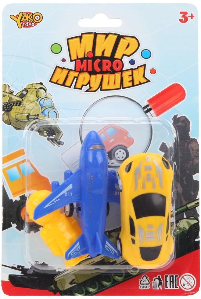 Игр набор Транспорт, самолет инерц., машина инерц., фигурка, блистер