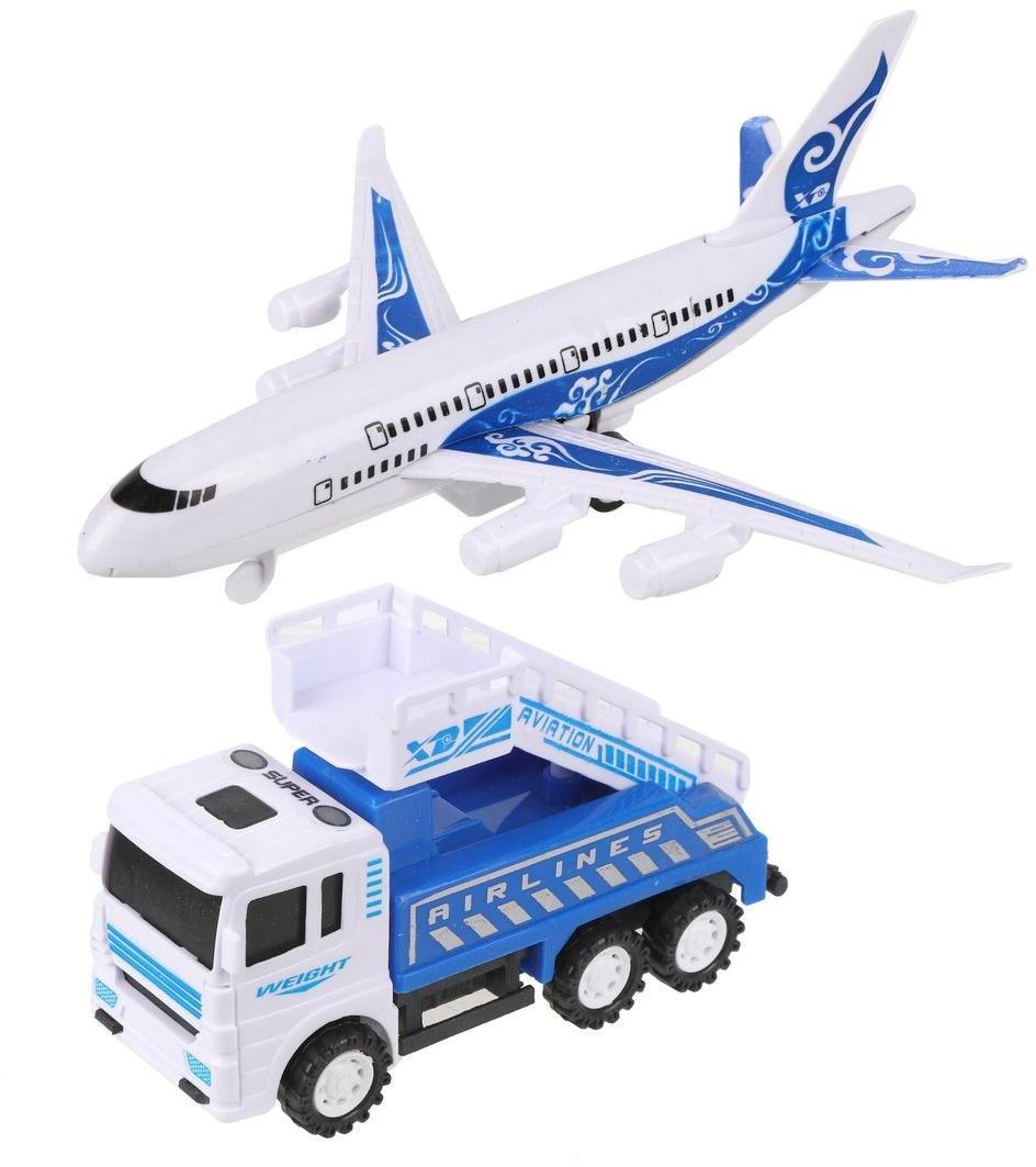 Игр.набор Аэропорт, самолет инерц., трап пассажирский инерц., пакет