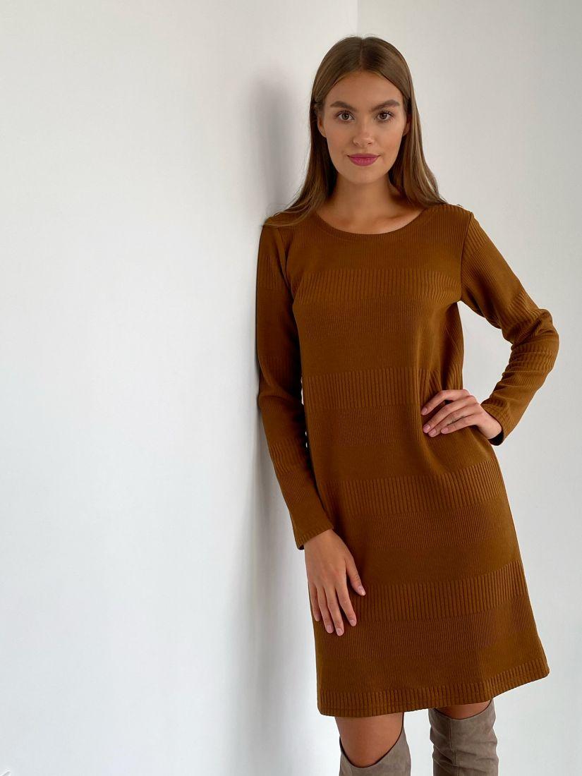 s2260 Платье-свитер в цвете camel