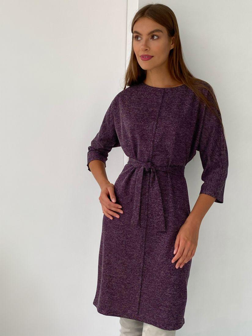 s2272 Платье из трикотажа с планкой в винном цвете