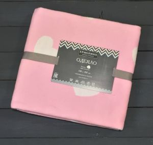 Фламинго Сердечки 57-8ЕТЖ Премиум 100х140 100% х/б Байковое жаккард Ермолино одеяло