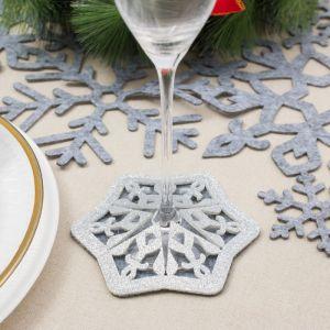 "Подставка для бокала ""Снежинка"" цв. серый 8,5 см, 100; п/э, фетр   4348570"