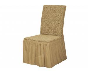 Набор чехлов для стульев 6 шт с оборкой ,KAR 010-12 A.Bej