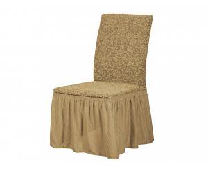 Набор чехлов для стульев 6 шт с оборкой ,KAR 002-12 A.Bej
