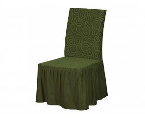 Набор чехлов для стульев 6 шт с оборкой ,KAR 004-06-Yesil
