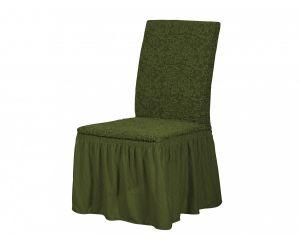 Набор чехлов для стульев 6 шт с оборкой ,KAR 002-09 Yesil