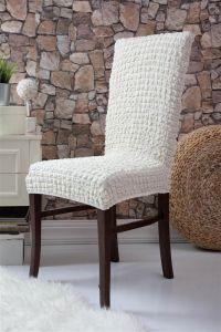 Набор чехлов для стульев 6 шт без оборки,Кремовый