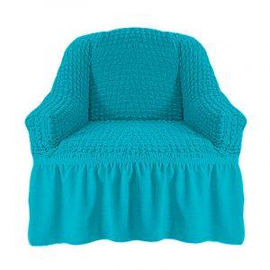 Чехол на кресло с оборкой (1шт.) К 029,Голубой