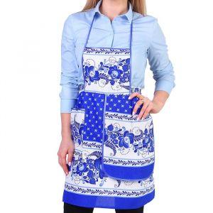 Фартук «Гжель», сувенирный, с карманом и полотенцем 3292709