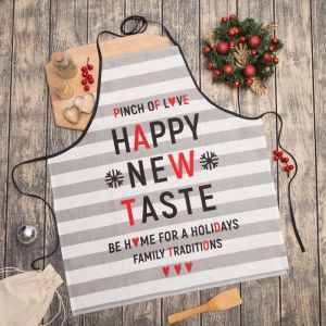"Фартук ""Happy New Taste"" 67х60 см,100% хл 160 г/м2, рогожка   4209449"
