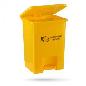 Бак многоразовый / МК-05-контейнер с педалью и фиксатором пакета / жёлтый, серый / 15 л