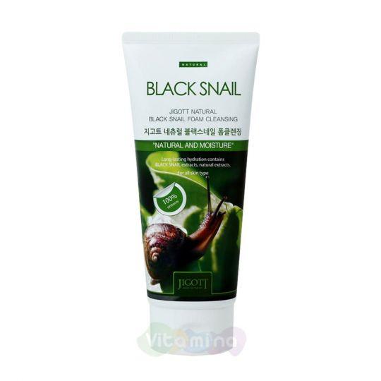 Jigott Очищающая пенка с муцином черной улитки Natural Black Snail Foam Cleansing, 180 мл