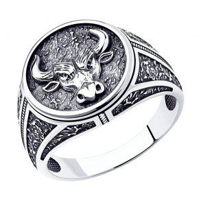 Кольцо из серебра Бык 95010147 SOKOLOV