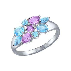 Кольцо из серебра с полудрагоценными вставками 92011105 SOKOLOV