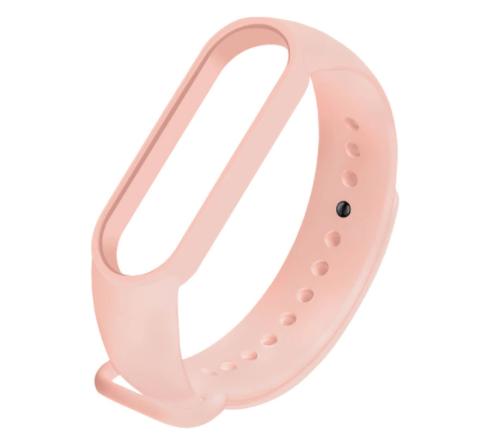 Сменный ремешок на фитнес - трекер Xiaomi Mi Band 5/6 ( Мягкий-розовый )