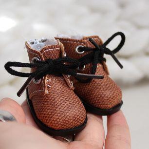 Обувь для кукол 5 см - ботиночки на молнии коричневые