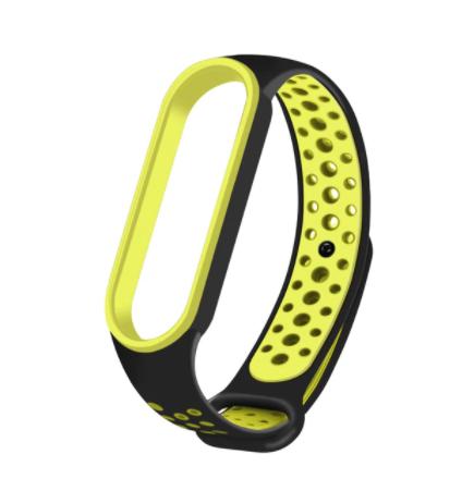 Спортивный ремешок на фитнес-браслет Xiaomi mi band 5/6 ( зелено- черный )