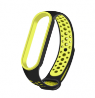 Спортивный ремешок на фитнес-браслет Xiaomi mi band 5 ( зелено- черный )
