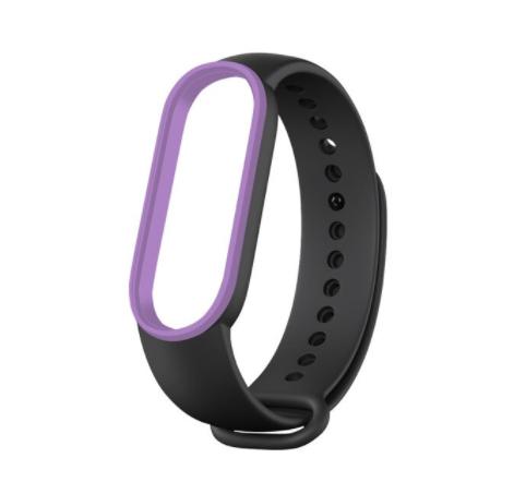 Сменный двухцветный ремешок на фитнес-браслет Xiaomi mi band 5 ( черно-фиолетевый )