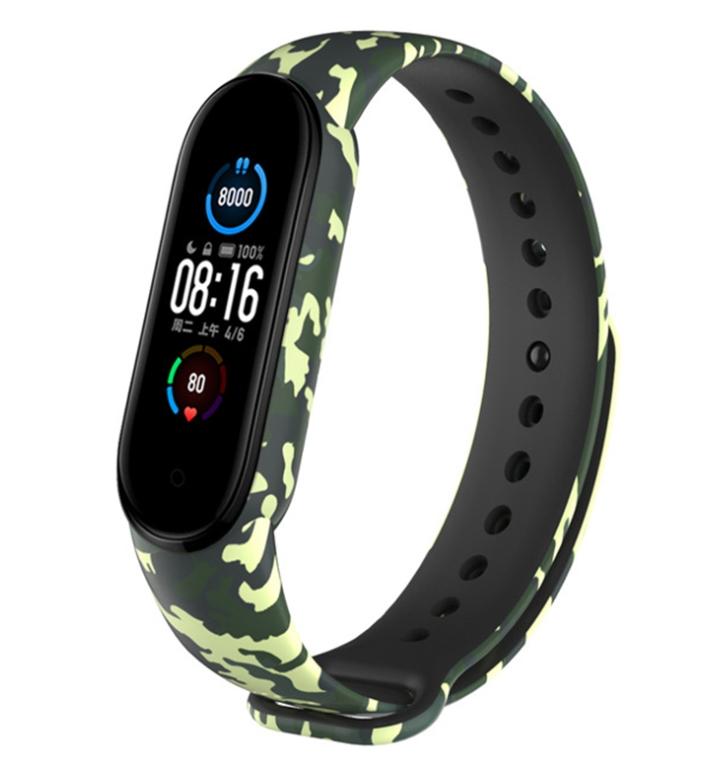 Сменный ремешок с рисунком на фитнес-браслет Xiaomi mi band 5 ( флора милитари зеленая )