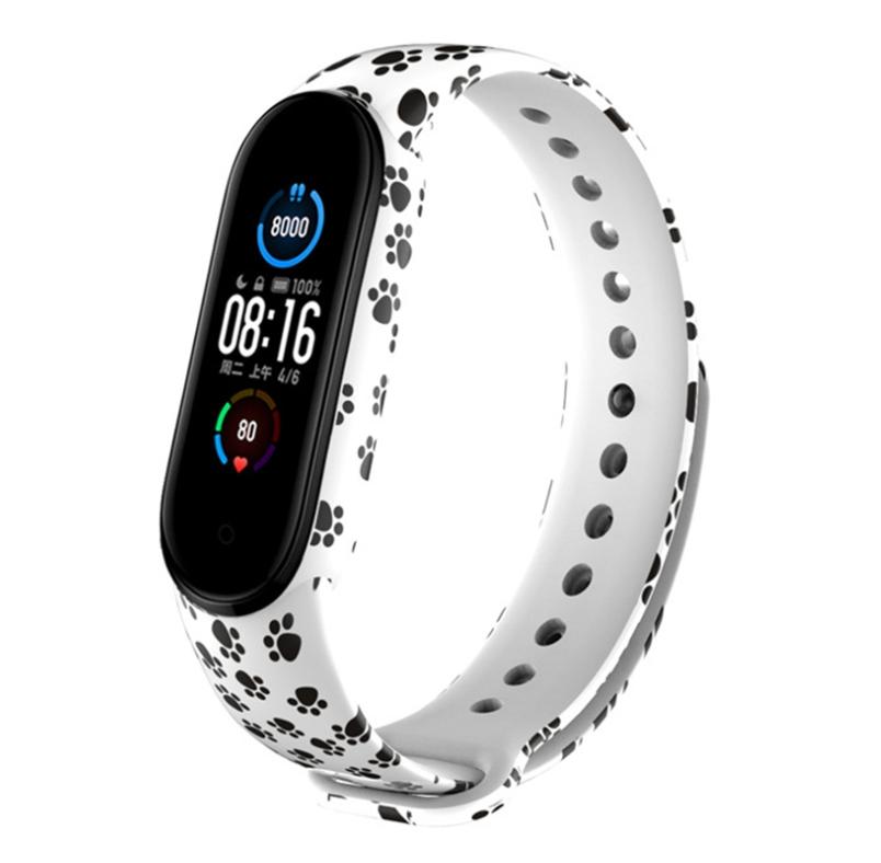 Сменный ремешок с рисунком на фитнес-браслет Xiaomi mi band 5 ( лапки )