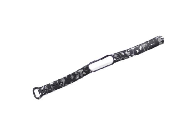 Сменный ремешок с рисунком на фитнес-браслет Xiaomi mi band 5 ( Черные цветы )