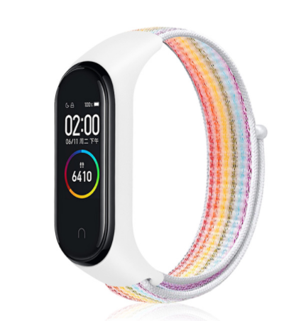 Сменный тканевый ремешок на фитнес-браслет Xiaomi mi band 5 ( белый с радугой )