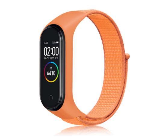 Сменный тканевый ремешок на фитнес-браслет Xiaomi mi band 5/6 ( Оранжевый )