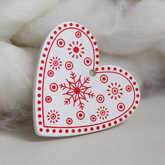 Деревянное украшение - Сердечко белое 5 см