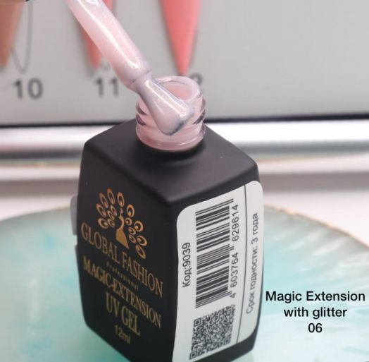 ГЕЛЬ Глобал Фешн ФЛАКОН 12 мл. MAGIC LIQUID EXTENSION 06 с шиммером
