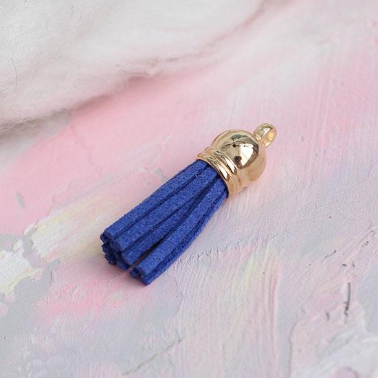 Кисточка декоративная синяя с золотым наконечником 4 см
