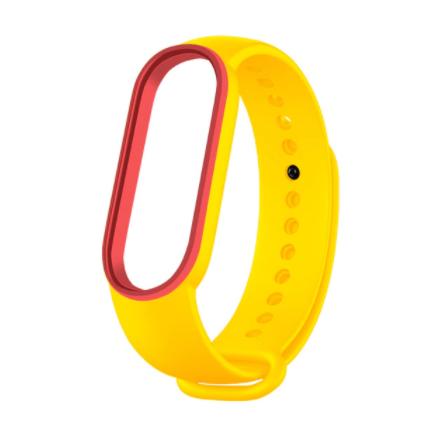 Сменный двухцветный ремешок на фитнес-браслет Xiaomi mi band 5/6 ( Желто-красный )