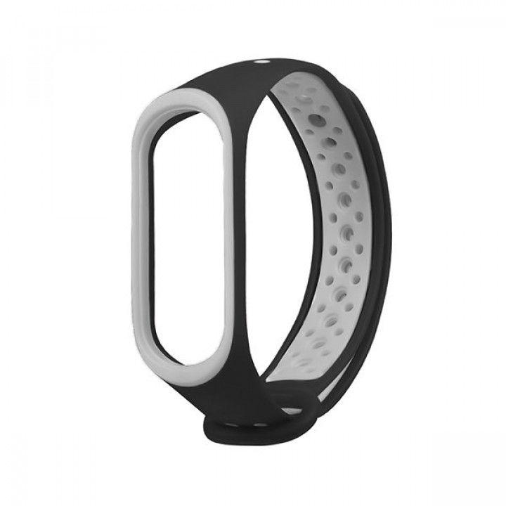 Спортивный ремешок на фитнес-браслет Xiaomi mi band 5/6 ( Черно-белый )