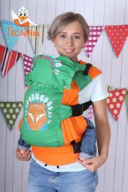 Эрго рюкзак Гусленок СТАНДАРТ с картинкой - Лиса с зелеными перьями 221 С Ярко