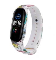 Сменный ремешок с рисунком на фитнес-браслет Xiaomi mi band 5 ( Совы-белые )