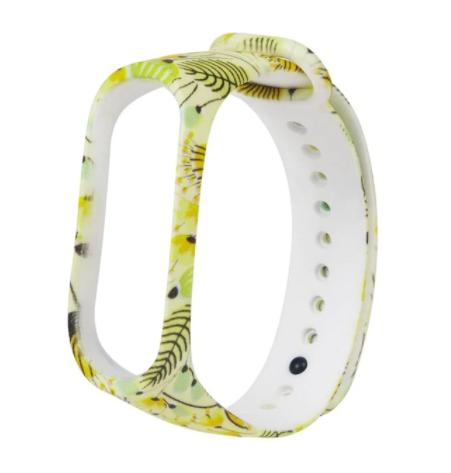 Сменный ремешок с рисунком на фитнес-браслет Xiaomi mi band 5 ( Цветы-желтые )