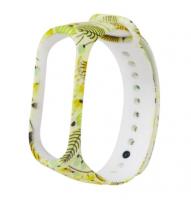 Сменный ремешок с рисунком на фитнес-браслет Xiaomi mi band 5/6 ( Цветы-желтые )