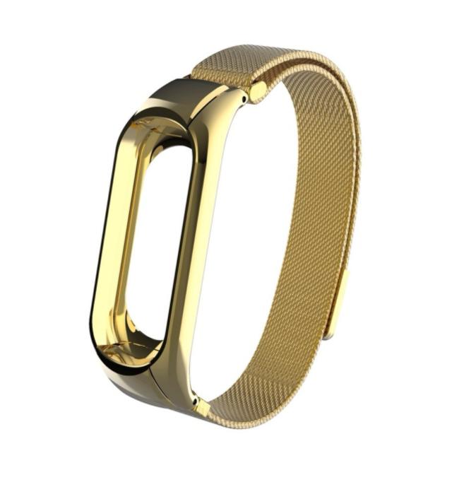 Сменный металлический ремешок с магнитной застежкой на фитнес-браслет Xiaomi mi band 5 ( Золото )