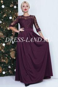 Бордовое платье в пол с кружевным лифом