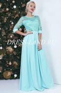 Бирюзовое платье в пол с кружевным лифом