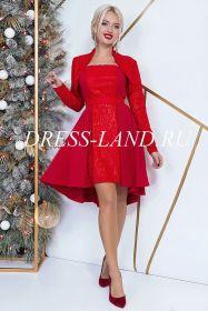 Красное коктейльное платье-двойка с болеро