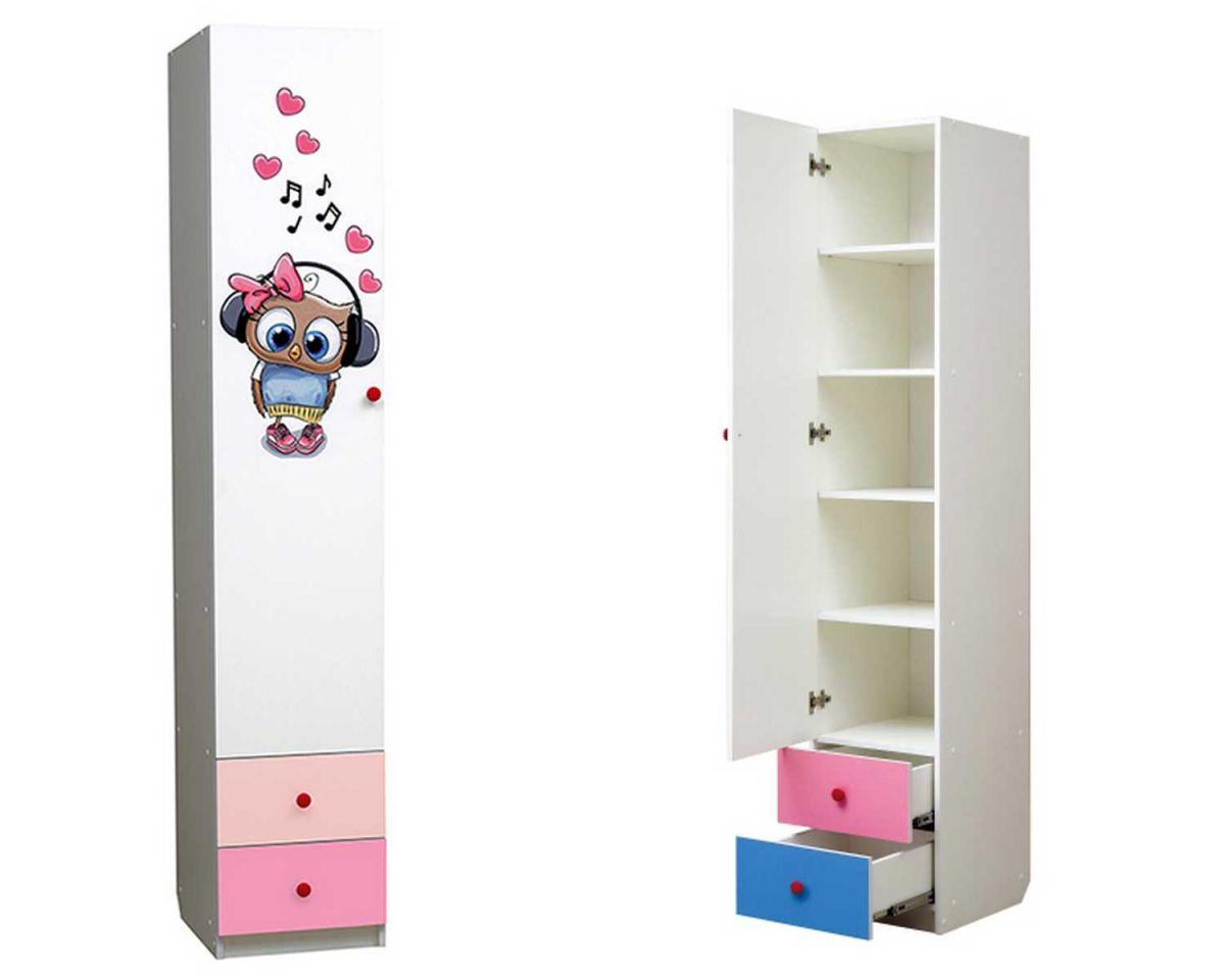 """Совята Шкаф 1-но дверный с ящиками и фотопечатью """"Совята"""" 1.2"""