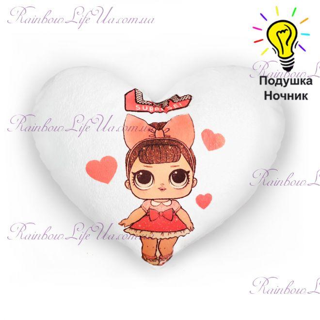"""Подушка - сердце светящаяся """"Кукла LOL"""""""