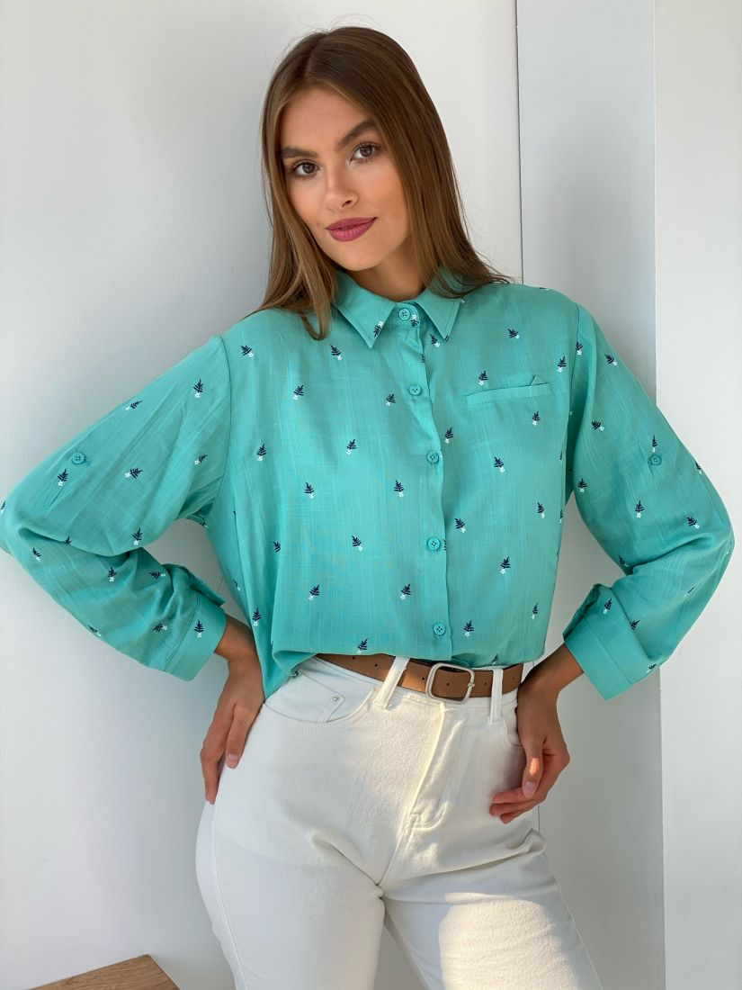 """s2599 Рубашка в цвете """"тиффани"""" с минималистичным принтом"""