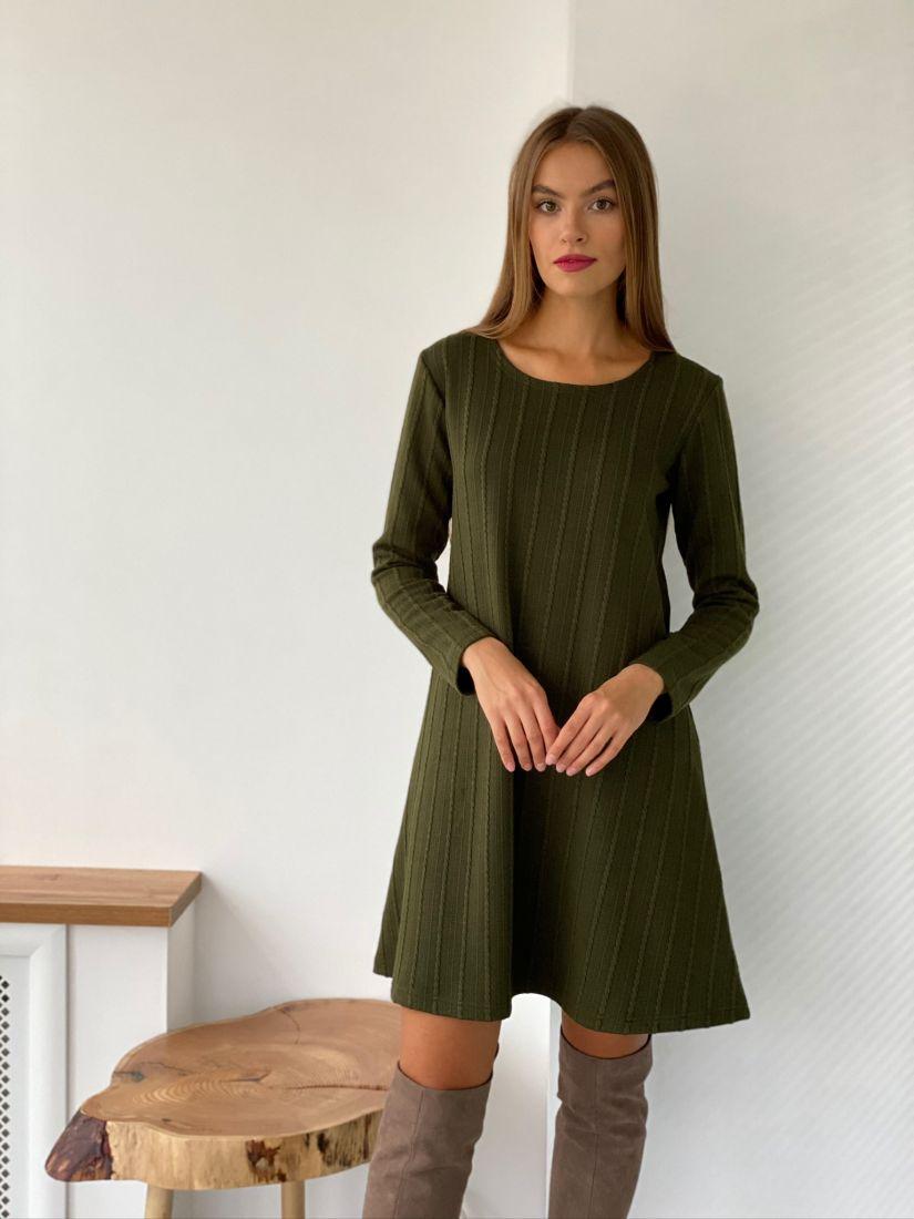 s2611 Платье трикотажное хаки
