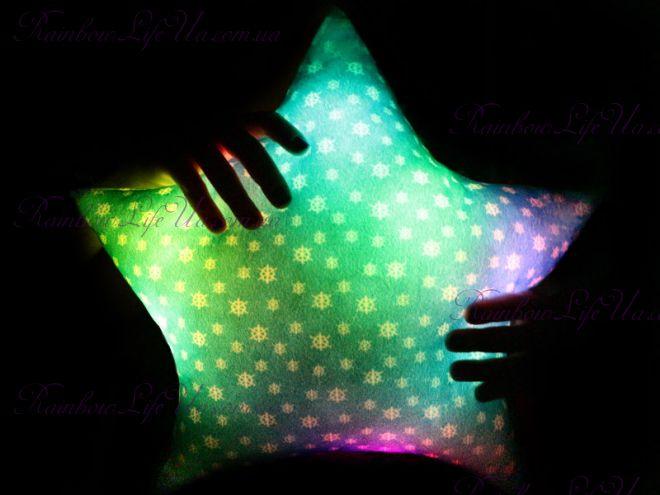 """Подушка - ночник новогодняя светящаяся """"Звезда"""""""