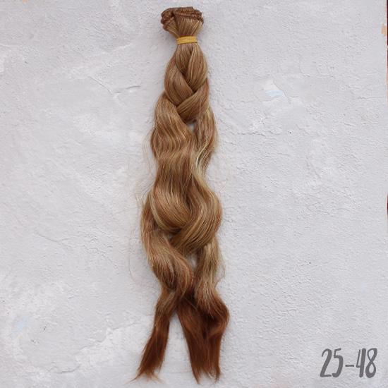 Трессы для создания причеcки куклам - Волны коса омбре рыже-русый 25 см