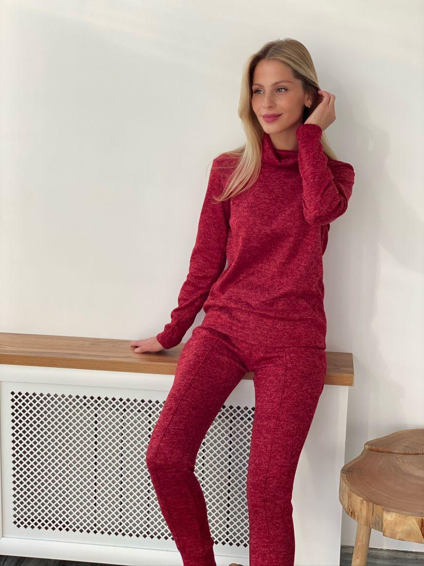s2620 Трикотажный костюм в цвете красный меланж