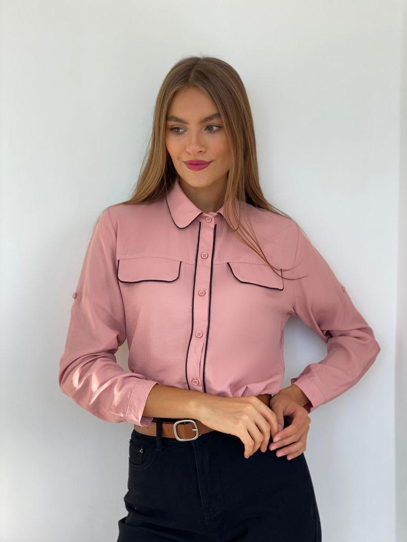 s2624 Рубашка с контрастной отделкой пудровая